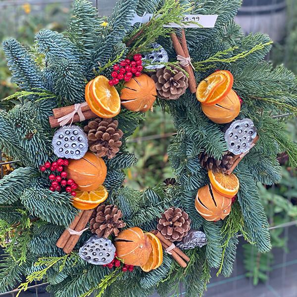 Large Orange Fruit Wreath | Marl Pits Garden Centre